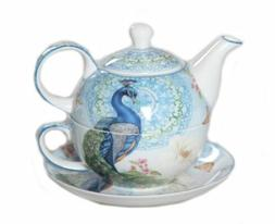 New Peacock Tea For One PeacocKTeapot w Cup in One set Fine