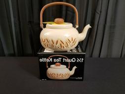 New, Unused Vintage 1-1/2-Qt Tea Kettle w/ Wheat Pattern Fro