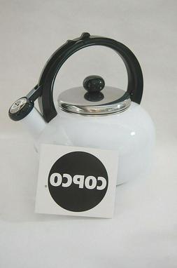 NEW COPCO Whistling Tea Pot Kettle Enameled White  2+ Quart