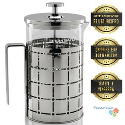 Ovente 27oz French Press Coffee Tea Maker Stainless Steel 3-