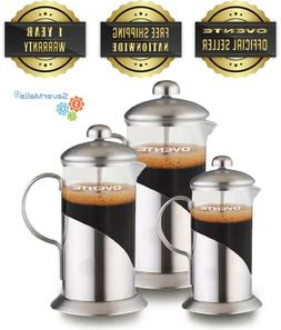 Ovente French Press Stainless Steel Home Coffee Maker, Brew