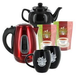 Ovente's SS Red Kettle and Teapot Gift Set