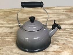 Le Creuset Oyster/Flint Tea Kettle 1.7 QT, Hinged Whistle, N