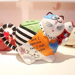 KTYXGKL Painted Cartoon Big Face Cat Fashion Creative Cerami