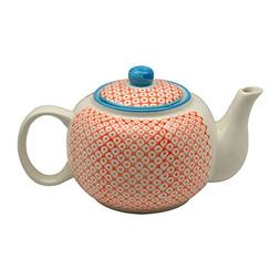 Nicola Spring Patterned Porcelain Teapot - 820ml  - Orange P