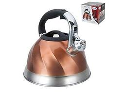 Premium Whistling Tea Kettle with Mesh Tea Strainer, Copper