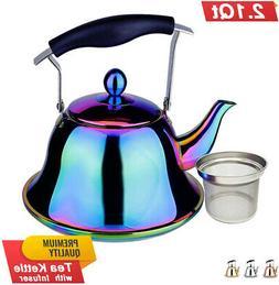 rainbow whistling tea kettle stainless steel stovetop
