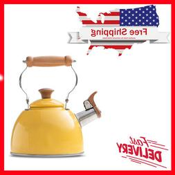 Rockurwok Tea Kettle Stovetop Whistling Teapot Yellow, Stain