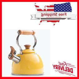 rockurwok tea kettle stovetop whistling teapot yellow