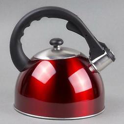 Satin Splendor 2.8 qt. Stainless Steel Tea Kettle in Metalli