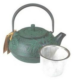 Set of 4 Large Japanese Cast Iron Teapot / Green Bamboo 20 O
