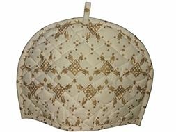 White and Gold Tea Cosy Cotton kitchen accessories White and