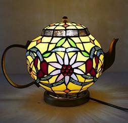LDGJ Stained Glass Teapot Accent Lamp Tiffany Style Tea Pot