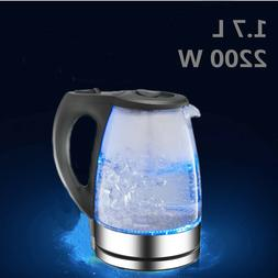 Stainless Electric Glass Kettle Hot Water Fast Boiler Tea Po