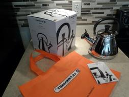 LE CREUSET STAINLESS STEEL 1.7 QT TEA KETTLE WITH WHISTLE