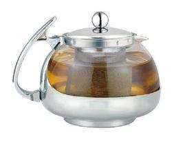Stainless Steel Glass TEA POT Teapot w. Stainless steel Stra