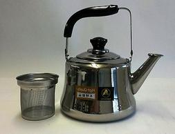 Stainless Steel Tea Kettle Pot With Infuser Filter Strainer