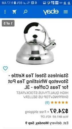 Stainless Steel Tea Kettle - Stovetop Whistling Tea Pot for