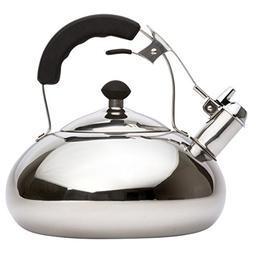 Vanika Stainless Steel Tea Kettle; Whistling Teapot Design;