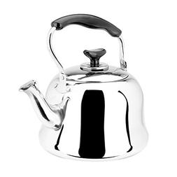 AMFOCUS Stainless Steel Whistle Tea Kettle for Stovetop, 1 Q