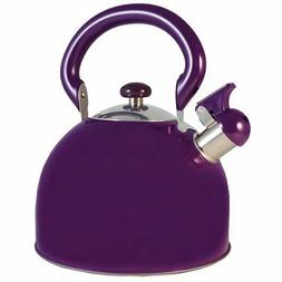 Le Chef Stainless Steel Whistling Purple Tea Kettle 3-Qt, on