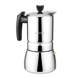 Stovetop Espresso Maker - Moka Pot 6 Cups Demitasse Espresso