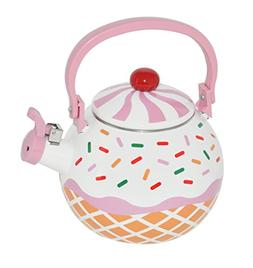 HOME-X Strawberry Cupcake Whistling Tea Kettle, Cute Teapot,
