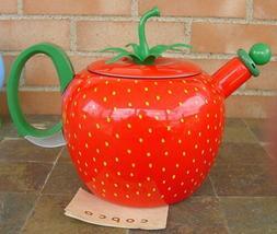 COPCO Strawberry Shaped Enamel Metal Teapot Whistling Tea Ke