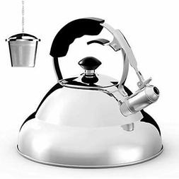 Surgical Stainless Steel Whistling Tea Kettle, 2.75 Quart St