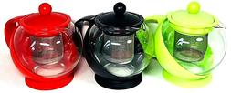 Uniware Table Glass Tea Coffee Pot with Stainless Steel Infu