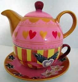 TEA FOR ONE TEAPOT SET HAND PAINTED WITH FLOWERS & LOVE HEAR