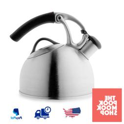 Tea Kettle Brushed Stainless Steel Enamel Whistle Kitchen Co