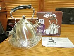 TEA KETTLE -MR. COFFEE STAINLESS STEEL-WHISTLER-GREAT LOOK-N