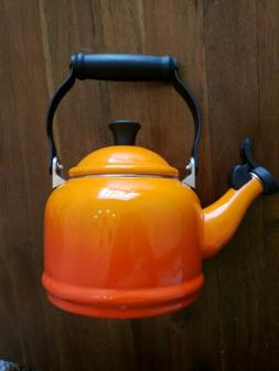 Le Creuset Tea Kettle Ombre Orange 1.25 guart enamelware
