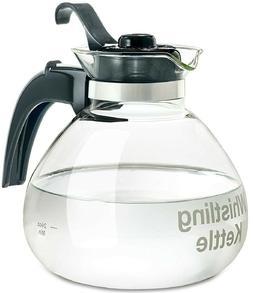 Tea Kettle Pot 12-Cup Glass Electric Gas Stovetop Whistle Li