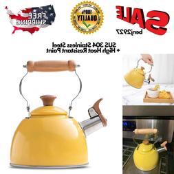 Rockurwok Tea Kettle Stovetop Whistling Teapot Yellow, Stain