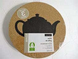 Harman Tea Kettle Teapot Cork Trivet Set of 3 Styles Table P