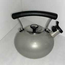 Circulon Tea Kettle Whistling Gray 1.5 Qt Enamel On Steel Co