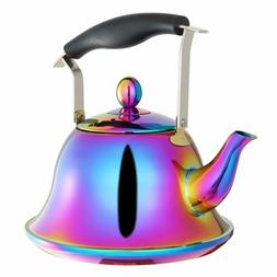 Tea Kettle with Infuser Stainless Steel Teapot Rainbow Teake