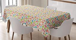 CHARMHOME Tea Party Cotton Linen Tablecloth, Dining Room Kit