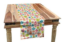 Lunarable Tea Party Table Runner, Tea Time Theme Illustratio