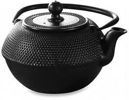 Teapot 36 Oz Cast Iron Matte Black Stainless Steel Tea Baske
