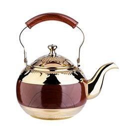 2 Liter Teapot Gold Pot with Infuser for Loose Tea Stainless