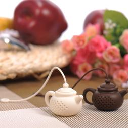Teapot-Shape Tea Infuser Strainer Silicone Tea Bag Leaf Filt