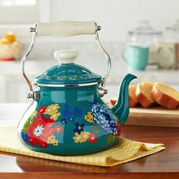 The Pioneer Woman Dazzling Dahlias 2 Quart Tea Kettle, Teal