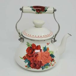 The Pioneer Woman Enamel Floral Tea Kettle Cheerful Rose 2 Q