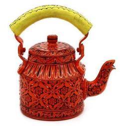 Traditional Hand Painted Tea Kettle Steel  Orange Delight II