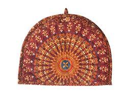Traditional Tea Cosy Decorative Orange Vintage Printed Cotto