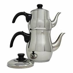 Turkish Double Tea Pot Kettle Water Boiler with Strainer Sam