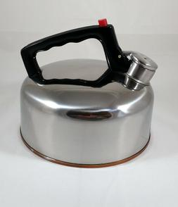Vintage 2 1/2 Quart Stainless Steel Whistling Tea Kettle Cop